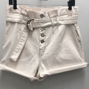 Free People High Waist Utility Shorts, White Denim